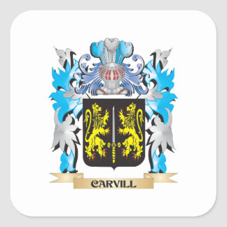 Carvill Coat of Arms - Family Crest Square Stickers