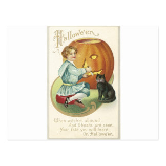 Carving a Pumpkin with a Black Cat Post Card