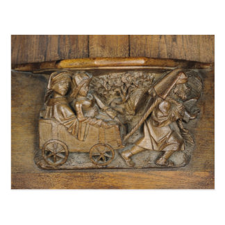 Carving depicting a couple in cart pulled by a postcard