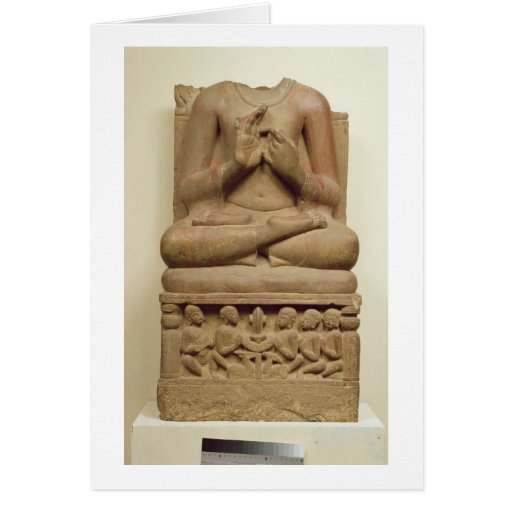 Carving of Buddha in the attitude of preaching a s Greeting Cards