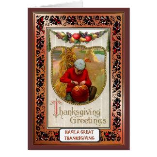 Carving Pumpkins - Blank Thanksgiving Greetings Greeting Card