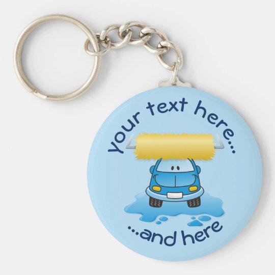 Carwash cartoon basic round button key ring