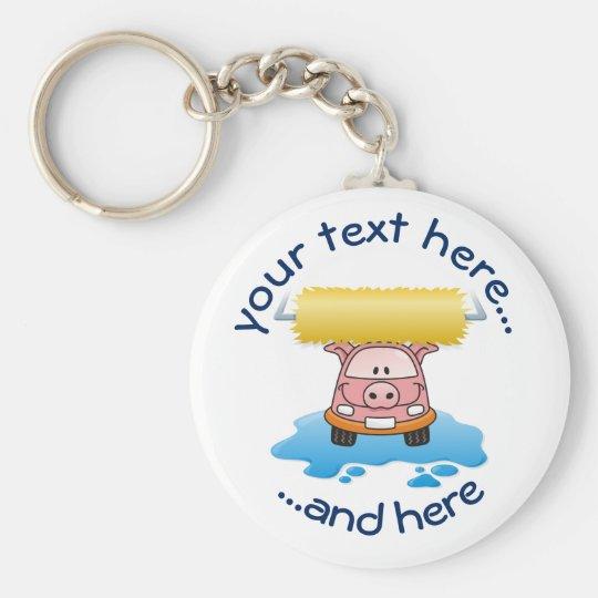Carwash Pig Basic Round Button Key Ring