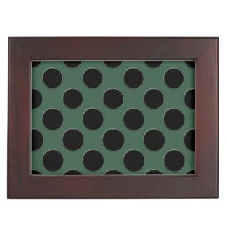 Cascading big black circles dark green keepsake box