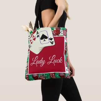 Casino Dice And Cards With Lady Luck Text Tote