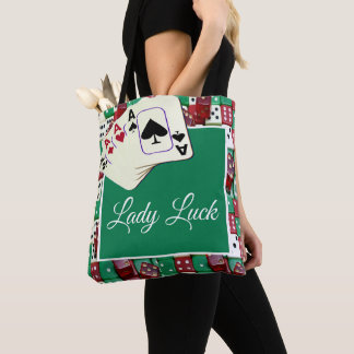 Casino Dice And Cards With Lady Luck  Text Tote #2