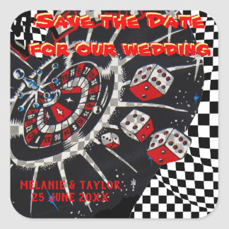 Casino Dice Save the Date Square Sticker
