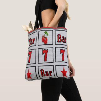 Casino Slot Machine Design With Red Sevens Tote Bag