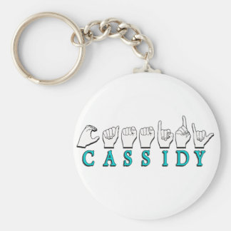 CASSIDY (Turquoise)  NAME SIGN ASL FINGERSPELLED Basic Round Button Key Ring
