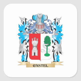 Castel Coat of Arms - Family Crest Square Sticker