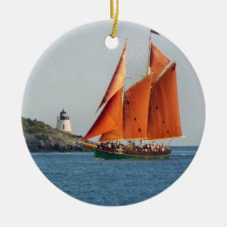Castle Hill Lighthouse Aurora Schooner Ornament