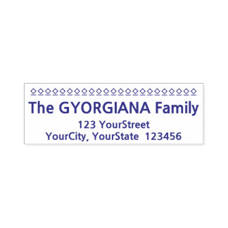 Casual Family Surname Plus Address Rubber Stamp