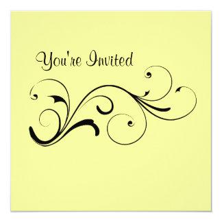 Casual Yellow Swirl Birthday Invitation