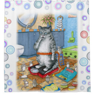 Cat 579 Funny Shower Curtain