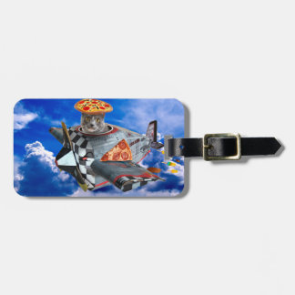 Cat airplane - flying cat - pilot cat luggage tag