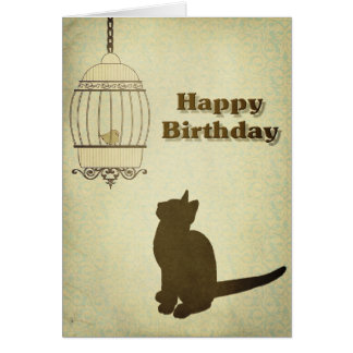 Cat and Birdcage Birthday Card