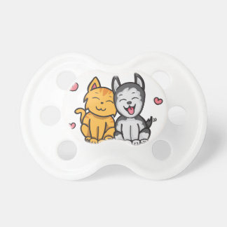 Cat and Dog Love Baby Pacifier