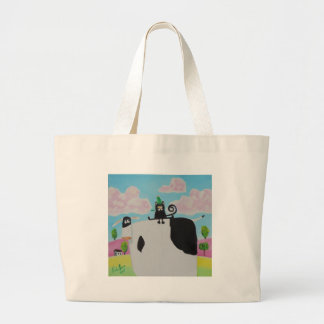 cat and frog on a cow painting Gordon Bruce art Large Tote Bag