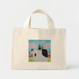 cat and frog on a cow painting Gordon Bruce art Mini Tote Bag