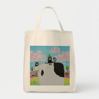 cat and frog on a cow painting Gordon Bruce art Tote Bag