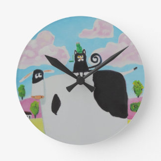 cat and frog on a cow painting Gordon Bruce art Wallclock