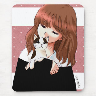 Cat and Girl Mouse Pad