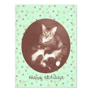 Cat and Kitten Happy Holidays Season's Greetings 17 Cm X 22 Cm Invitation Card