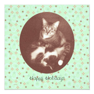 "Cat and Kitten Happy Holidays Season's Greetings 5.25"" Square Invitation Card"