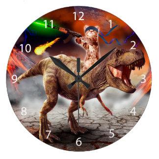 Cat armageddon - Dinosaur cat - bad cat - cat art Large Clock