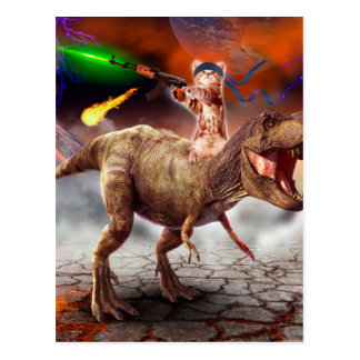 Cat armageddon - Dinosaur cat - bad cat - cat art Postcard
