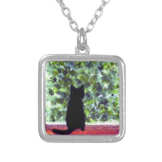 Cat at the Window, Cute Black Cat Painting Silver Plated Necklace