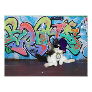 Cat Attitude.....Kitten and Graffiti Wall Card