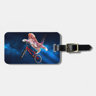 Cat bike - cat freestyle - funny cat luggage tag