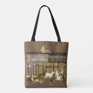 Cat Book Lovers Library Art Tote Bag