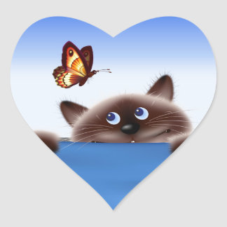 Cat & Butterfly Heart Sticker