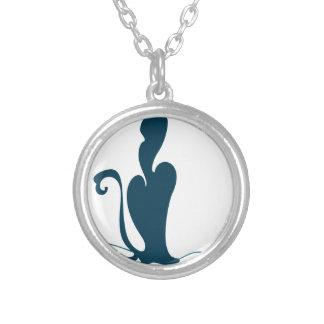 Cat cartoon round pendant necklace