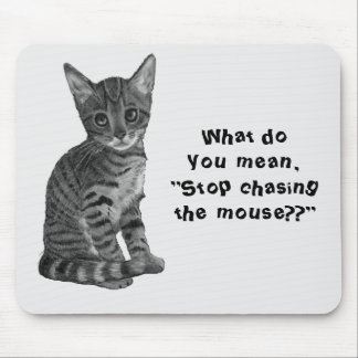 Cat: Chasing Mouse, Original Drawing, Cute Mouse Pad