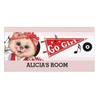 CAT CHEERLEADER Classic Room Sign 2 Door Sign