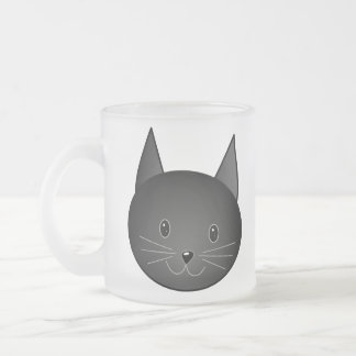 Cat. Cute black kitty. Frosted Glass Mug