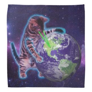 Cat destroying the world with eye laser head kerchiefs