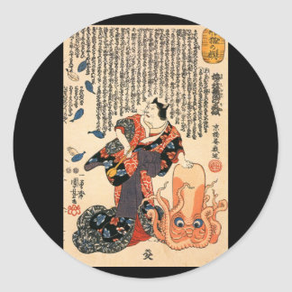 Cat dressed as a woman and octopus c. 1800's classic round sticker