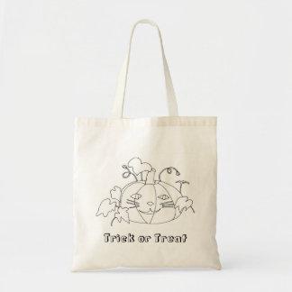 Cat Face Pumpkin Trick or Treat Coloring Tote Bags