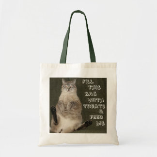 """Cat """"FILL THIS BAG WITH TREATS & FEED ME"""" Tote Bag"""