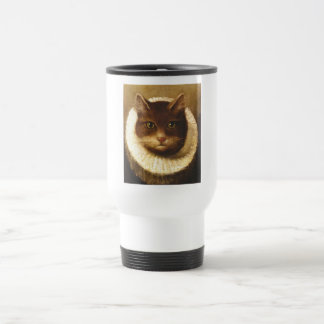 Cat In A Ruff Cute Victorian Art Vintage Painting Stainless Steel Travel Mug