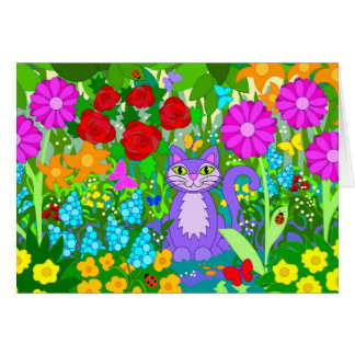 Cat in Garden Flowers Butterflies Ladybugs Art Greeting Card