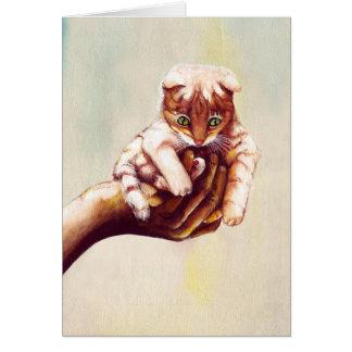 CAT IN HAND CARD