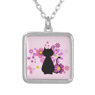 Cat in Pink Flowers Necklace (Square)
