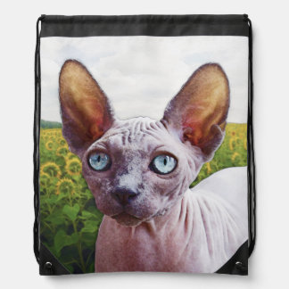 Cat In Sunflowers Drawstring Bag