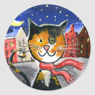 Cat In The City Classic Round Sticker