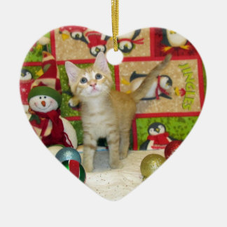 Cat, Kitten, Christmas, Rescue, Photo Ceramic Heart Decoration